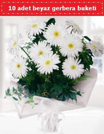 10 Adet beyaz gerbera buketi  İstanbul Kadıköy çiçek , çiçekçi , çiçekçilik