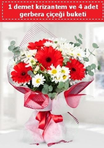 Krizantem ve Gerbera Buketi  İstanbul Kadıköy çiçek siparişi sitesi