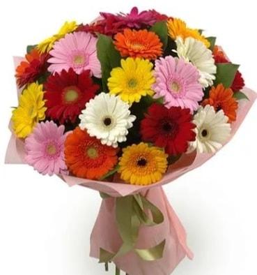 Karışık büyük boy gerbera çiçek buketi  İstanbul Kadıköy çiçek satışı