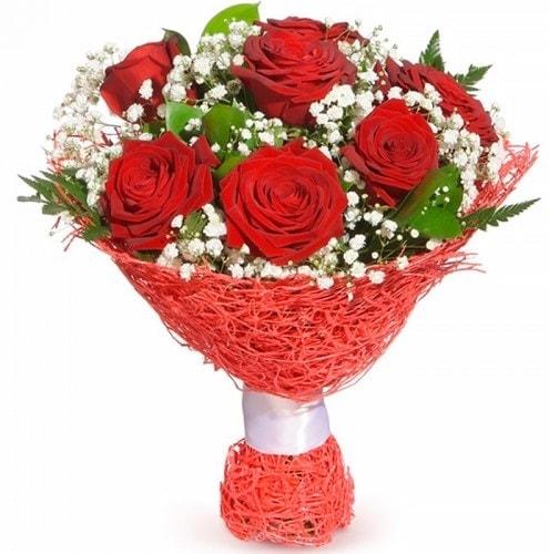 7 adet kırmızı gül buketi  İstanbul Kadıköy çiçekçiler